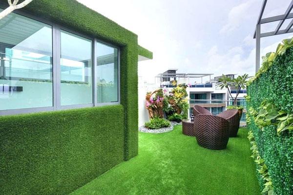 Trang trí sân vườn, tường nhà bằng cỏ nhân tạo dán tường 1